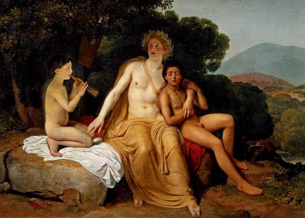 Аполлон, Гиацинт и Кипарис, занимающиеся музыкой и пением (1831-1834)