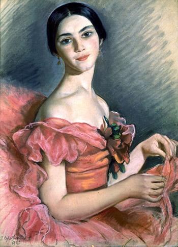 Портрет Е. Н. Гейденрейх в красном