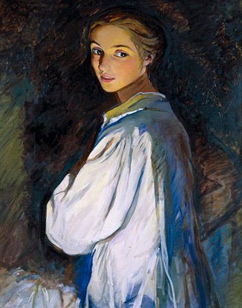 Автопортрет Девушка со свечой 1911 г.