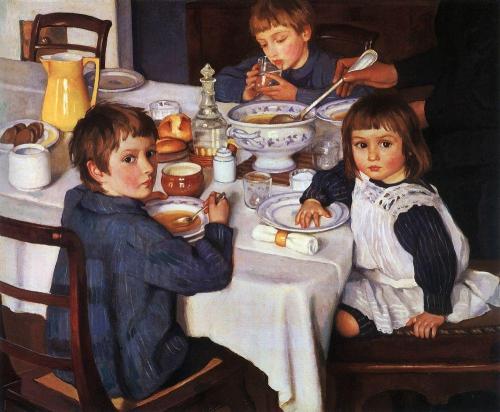 Зинаида Евгеньевна Серебрякова за завтраком
