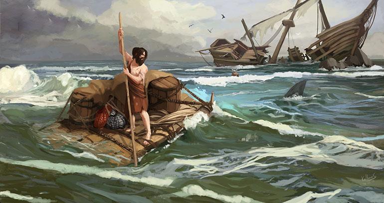 Робинзон доставляет вещи на берег